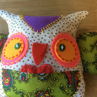 Fabric Shabby Chic Colourful Owl