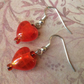 Orange Red Glass Heart Drop Earrings