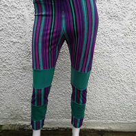 SALE purple green shimmer lycra festival leggings size 10 12