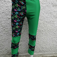 SALE handmade retro 80 pattern and green lycra festival leggings size 12 14