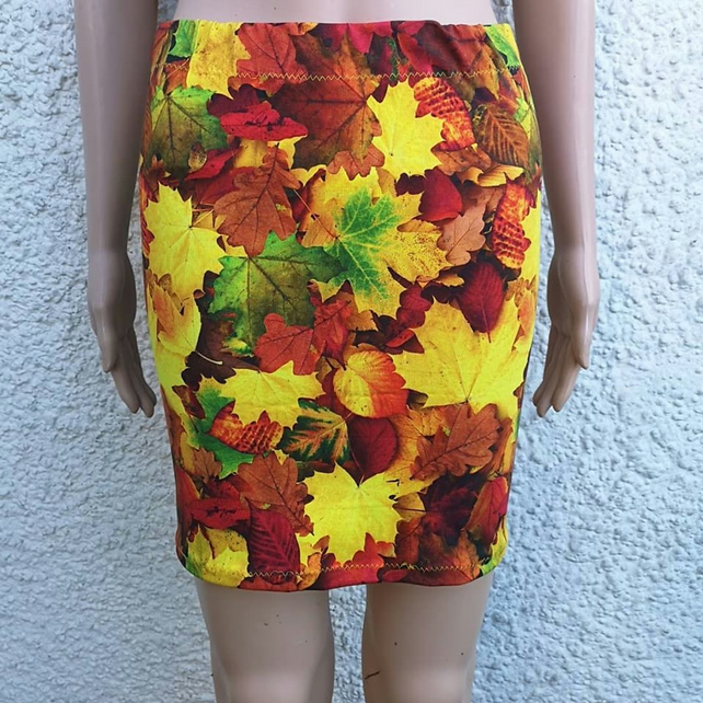 SALE yellow orange red autumn pixie nature leaf cotton lycra skirt size 8 10