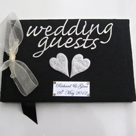 Silver Hearts Black Wedding Guest Book