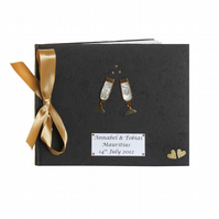 Black Champagne Celebration Guest Book - Large Customise folksywedding