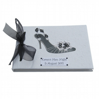 Hen Night Guest Book - Black and White Shoe