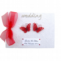 Personalised Red Butterfly Guest Book