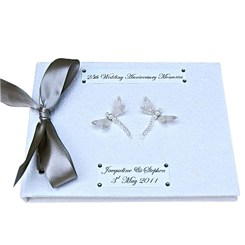 Personalised Silver Dragonfly Guest Book