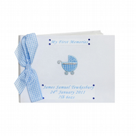 Personalised Blue Pram New Baby Boy Photo Album
