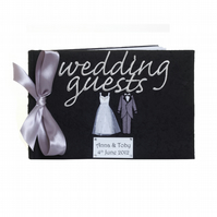 Personalised Black Bride and Groom Wedding Guest Book Customise folksywedding