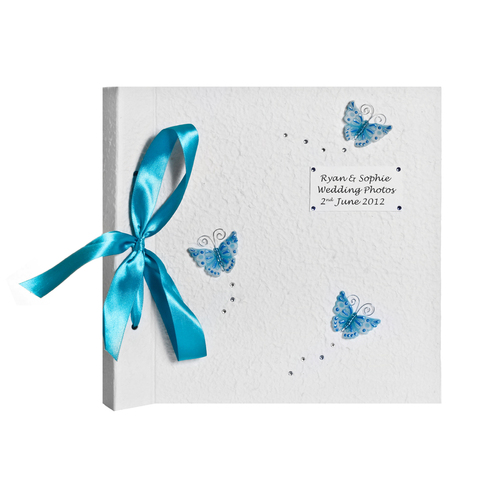 Large Blue Butterfly Photo Album - Wedding