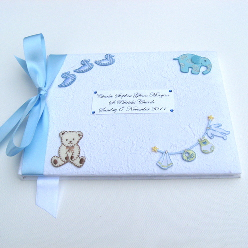 Large Personalised Boys Christening Memory/Guest Book