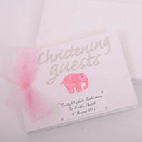 Personalised Baby Elephant Christening Guest Book