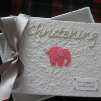 Christening Guest Book Pink Elephant  -  Baby Girl