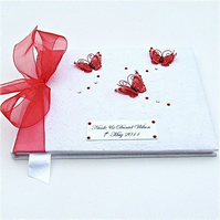 Personalised Large Guest Book - Red butterflies