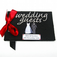 Personalised Black Bride and Groom Wedding Guest Book - Red Ribbon