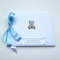 Large Personalised Naming Ceremony Guest Book - Teddy Bear