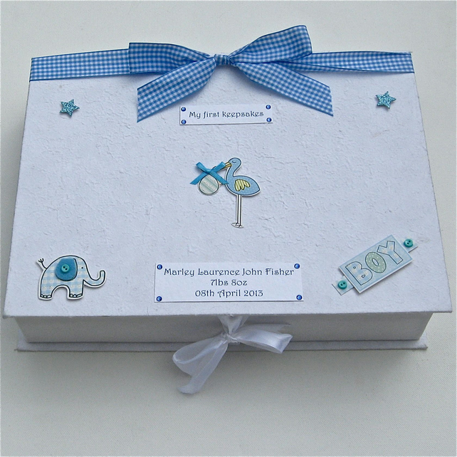 Baby Boy Personalised Keepsake Box Stork Folksy
