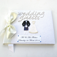 Scottish Wedding Guest Book - Cream satin ribbon