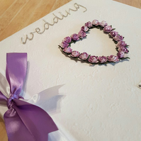 Personalised Wedding Photo Album - Heart of Lilac Roses