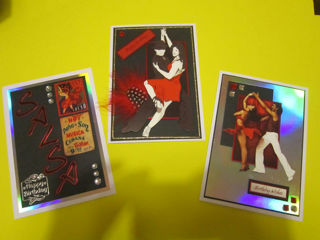 3 x A5 size Salsa dance themed Birthday cards