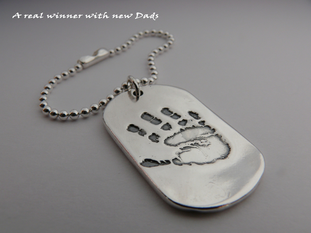Solid Silver Handprint Dog Tag - Personalised with your loved ones impression