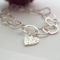 Handmade Silver Linked Bracelet with Heart Charm
