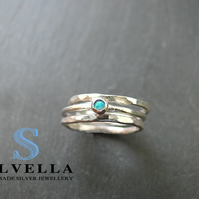 Sterling Silver Opal Stacking Rings - Three Stacking Rings - Stacking Rings
