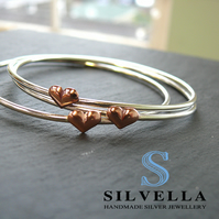 Sterling Silver & Copper Heart Bangle - Silver Stacking Bangle - Silver Bracelet