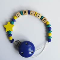 "dummy & toy clip ""twinkle star"" - personalised with your baby's name!"