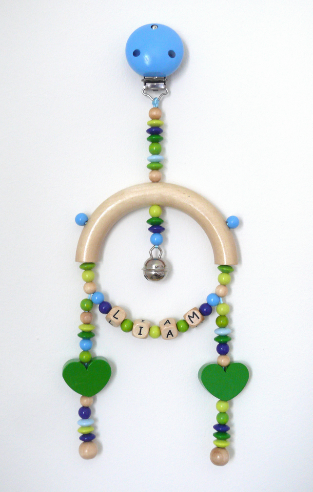 mobile for pram, pushchair - green hearts - personalised with baby's name