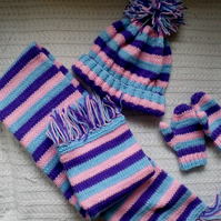 Hand knitted Scarf hat and mitts set