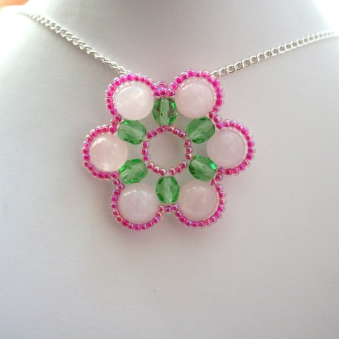 Spring Blossom Necklace - Pink & Green