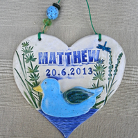 Heart birth plaque, made to order baby plaque with name and date of birth