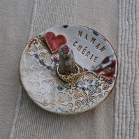 Personalised ring dish, Ceramic ring holder with heart  - MADE TO ORDER