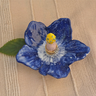 Blue hibiscus ring dish, Ceramic ring holder, Ring catcher with post
