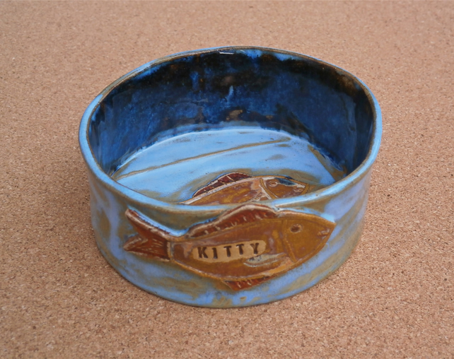 Cat bowl with fish, Blue ceramic kitty dish, Stoneware pet dish