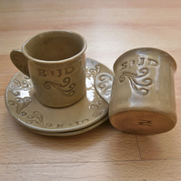 Made to order beige espresso cups and dessert plates - Customised wedding gift