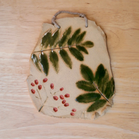 Rowan tree wall art, Ceramic plaque with leaves and berries