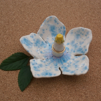 Blue and white hibiscus ring dish, Ceramic ring holder, Ring stand, ring keeper