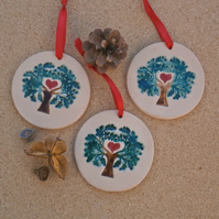 Tree of life hanging ornament with heart, Ceramic green decoration, Home decor
