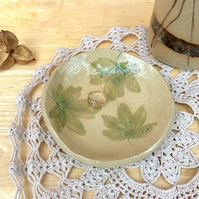 Leafy ceramic dish - Green trinket holder - small dessert dish - IN STOCK