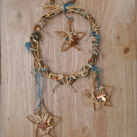 Willow wall art with stars and butterflies, Rustic home decor, Wreath, 3not