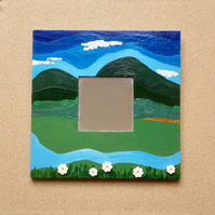 Green landscape decorative mirror, Naive acrylic painting hills and daisies