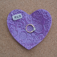 Purple heart ring dish for Mum, Ceramic ring holder, tealight holder, 2not
