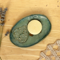 Green soap dish - ceramic soap tray with pear - bathroom accessory  IN STOCK