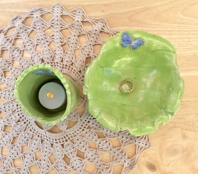Green ring holder and tea light holder with butterflies, Ceramic trinket dish