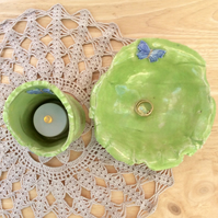 Green ring holder and tea light holder with butterflies, Ceramic trinket dish, 4