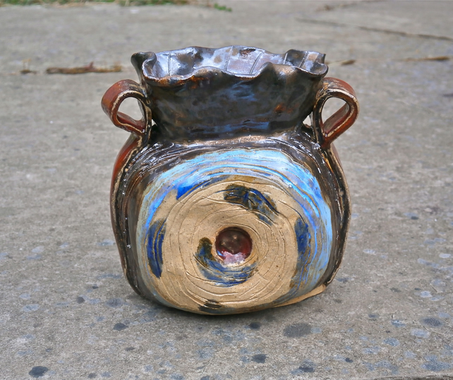 Bronze vase with blue and red, Small handmade ceramic vase, Pottery home decor