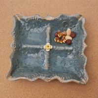 Tourmaline ceramic dish - Tapas or snack tray - Stoneware serving dish