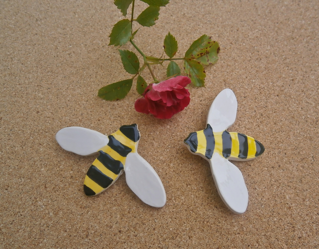 bee brooch - yellow and black ceramic pin - bee badge