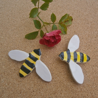 Bee brooch, yellow and black ceramic pin, bee badge, 2not